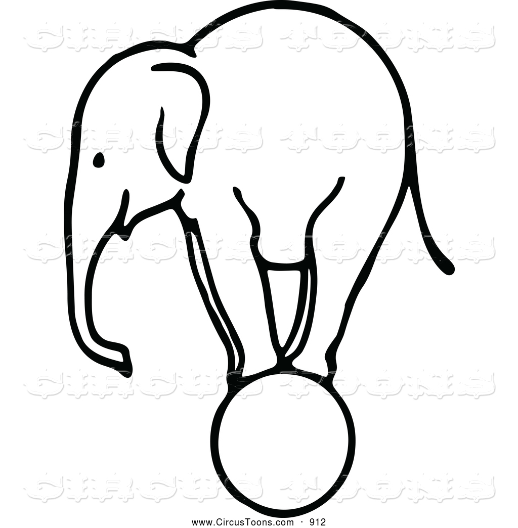 1024x1044 Circus Clipart Of A Sketched Black And White Elephant Balancing