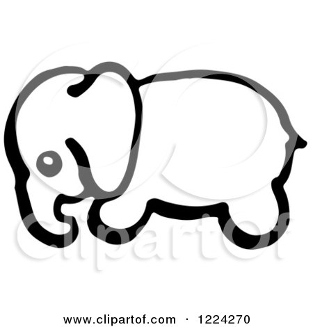 450x470 Clipart Of A Black And White Baby Elephant In Profile