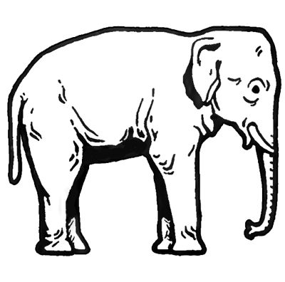 400x396 Asian Elephant Clipart Black And White