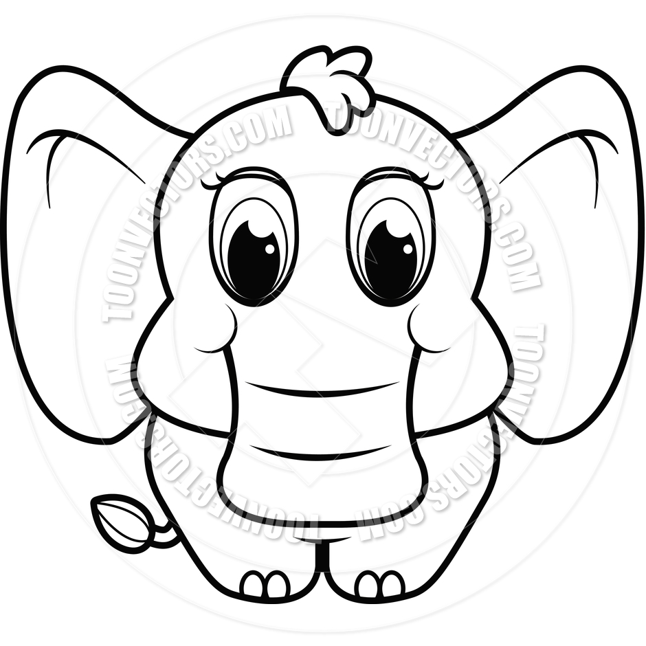 940x940 Baby Elephant (Black And White Line Art) By Cory Thoman Toon