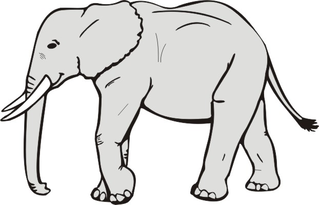 622x400 Elephant Clip Art Black And White Free Clipart 3