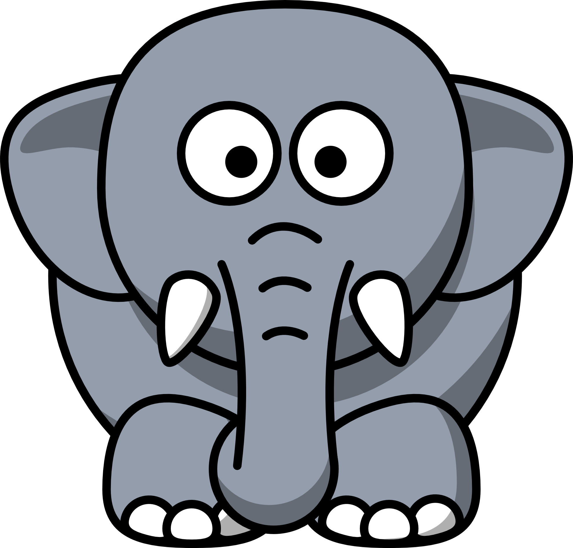 1979x1890 Elephant Clip Art Black And White Free Clipart 3