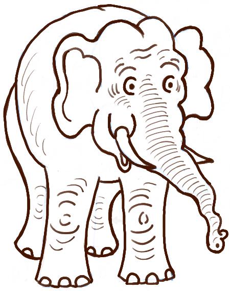 450x568 Drawn Elephant Easy Draw
