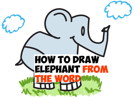 442x319 How To Draw Cartoon Elephants From The Word Elephant