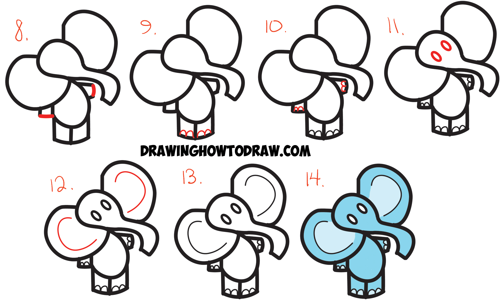 2000x1207 Learn How To Draw Cute Cartoon Elephant From The Dollar Sign