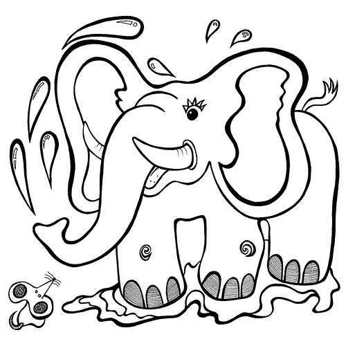 500x500 Hattie And Colin', Elephant And Mouse, Cartoon Animal Colouring
