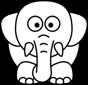 298x285 Cartoon Elephant Bw Clip Art