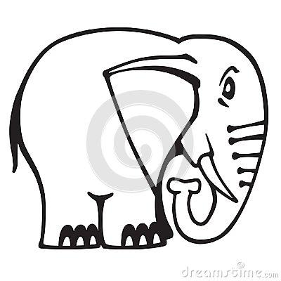 400x400 Cartoon Elephant Logo Black And White Outline Vector Cartoon
