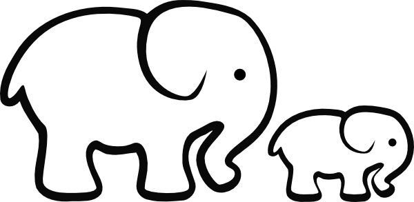 600x293 Elephant Outline Cliparts