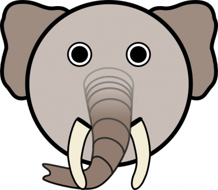 425x371 Elephant With Rounded Face Clip Art Vector, Free Vectors