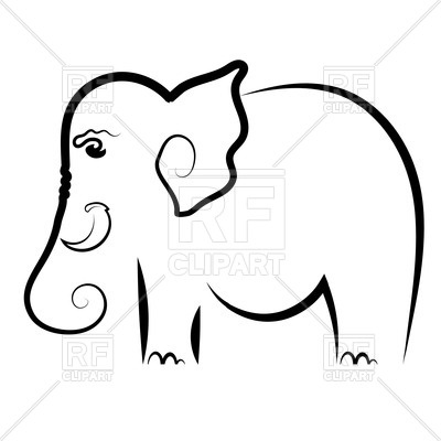 400x400 Outline Of Elephant Royalty Free Vector Clip Art Image