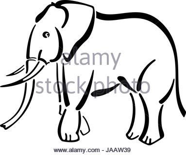 383x320 Outline Elephant Head Animal Stock Vector Art Amp Illustration