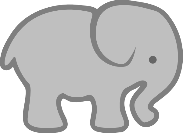 600x436 Gray Elephant Outline Clip Art