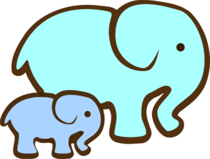 300x228 Blue Elephant Mom amp Baby Clip Art