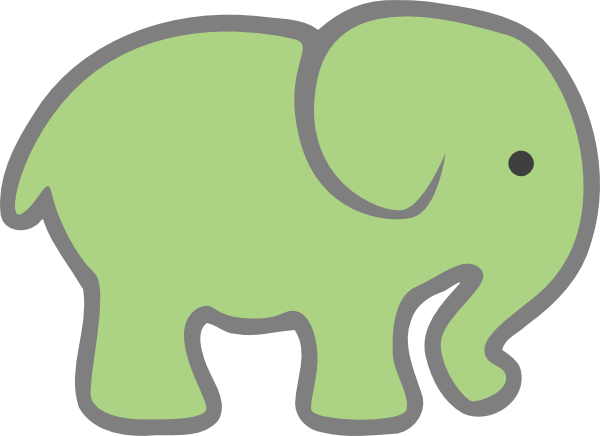 600x436 Baby Green Elephant Clip Art