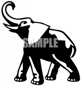 283x300 Art Image Black And White Elephant