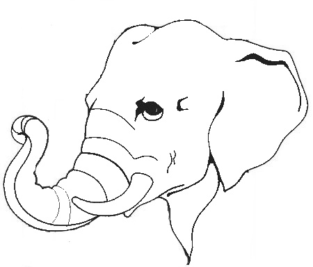 450x384 Outline Of Elephant Face