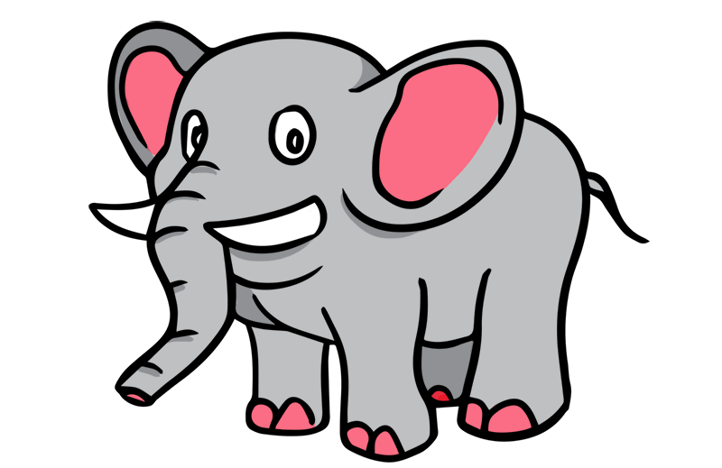 800x519 Elephant Clip Art Black And White Free Clipart 7