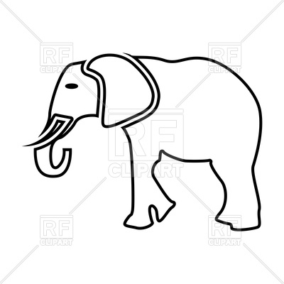 400x400 Elephant Outline Royalty Free Vector Clip Art Image