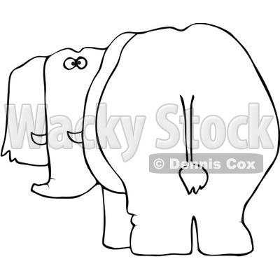 400x400 Free Vector Clip Art Illustration Of A Black And White Elephant