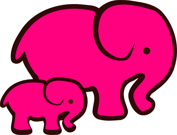600x458 Mommy And Baby Elephant Clipart