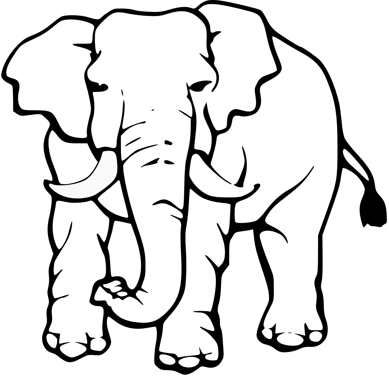 1331x1295 Monochrome Clipart Elephant