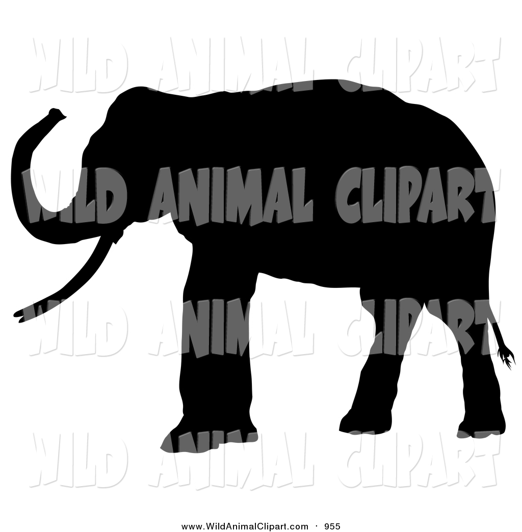 1024x1044 Clip Art Of A Black Silhouetted Adult Elephant Facing Left By Dero