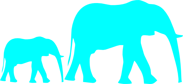 600x274 Mom And Baby Elephant Blue Clip Art