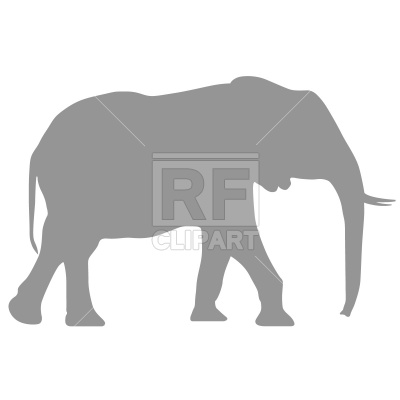 400x400 Running Elephant Silhouette Royalty Free Vector Clip Art Image