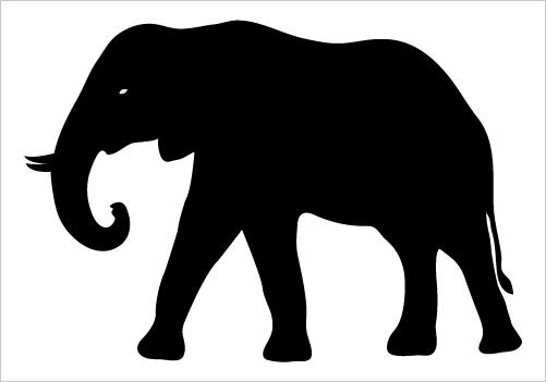 501x351 Silhouette Elephant Clipart
