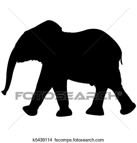 450x470 Clipart Of Baby Elephant Silhouette Isolated On White K5439114