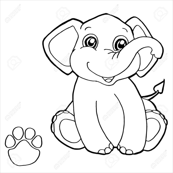 600x600 Elephant Coloring Pages