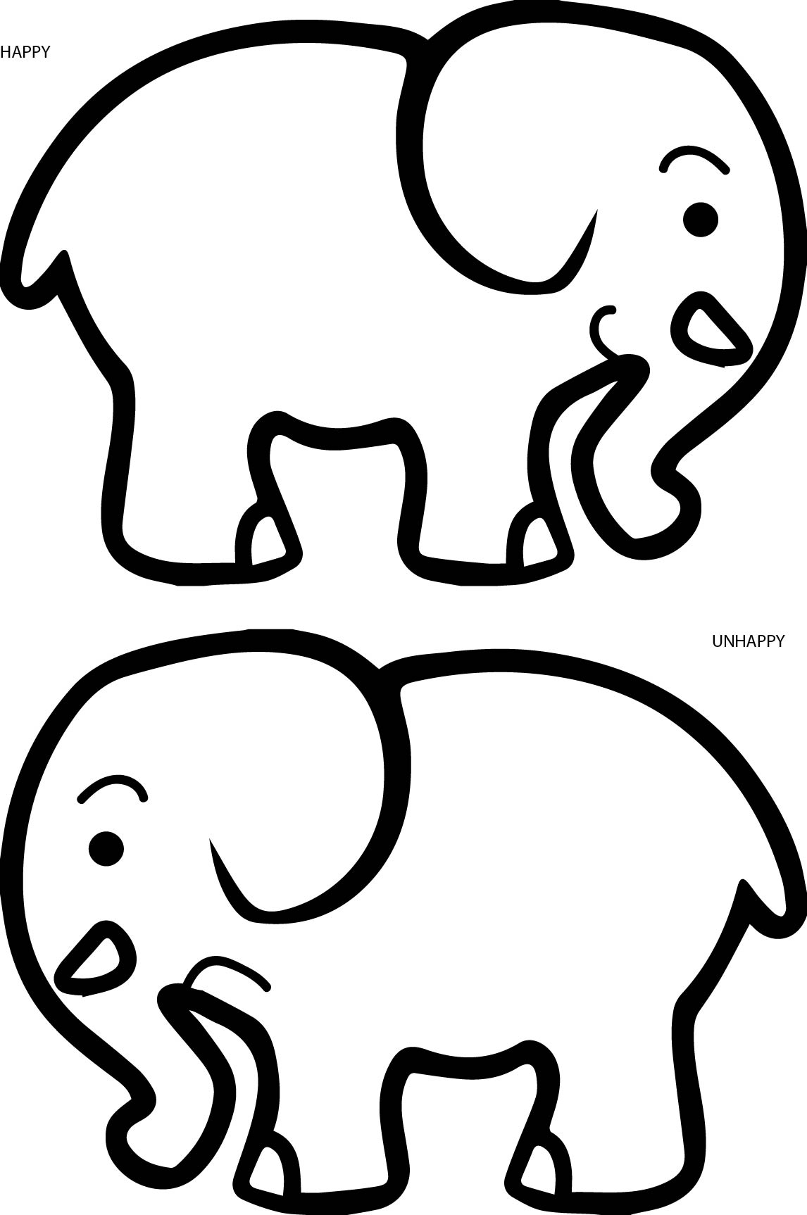 1146x1726 Happy Unhappy Elephant Coloring Page Wecoloringpage