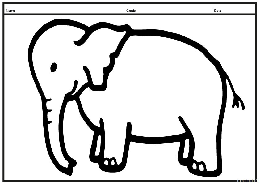 842x595 A4 Size Printable Elephant Coloring Pages For Kids