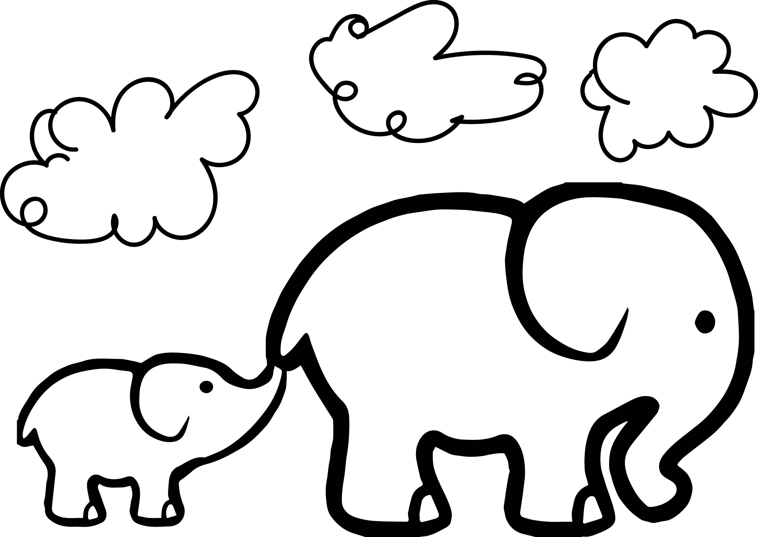 2576x1826 Baby Elephant And Adult Elephant Coloring Page Wecoloringpage