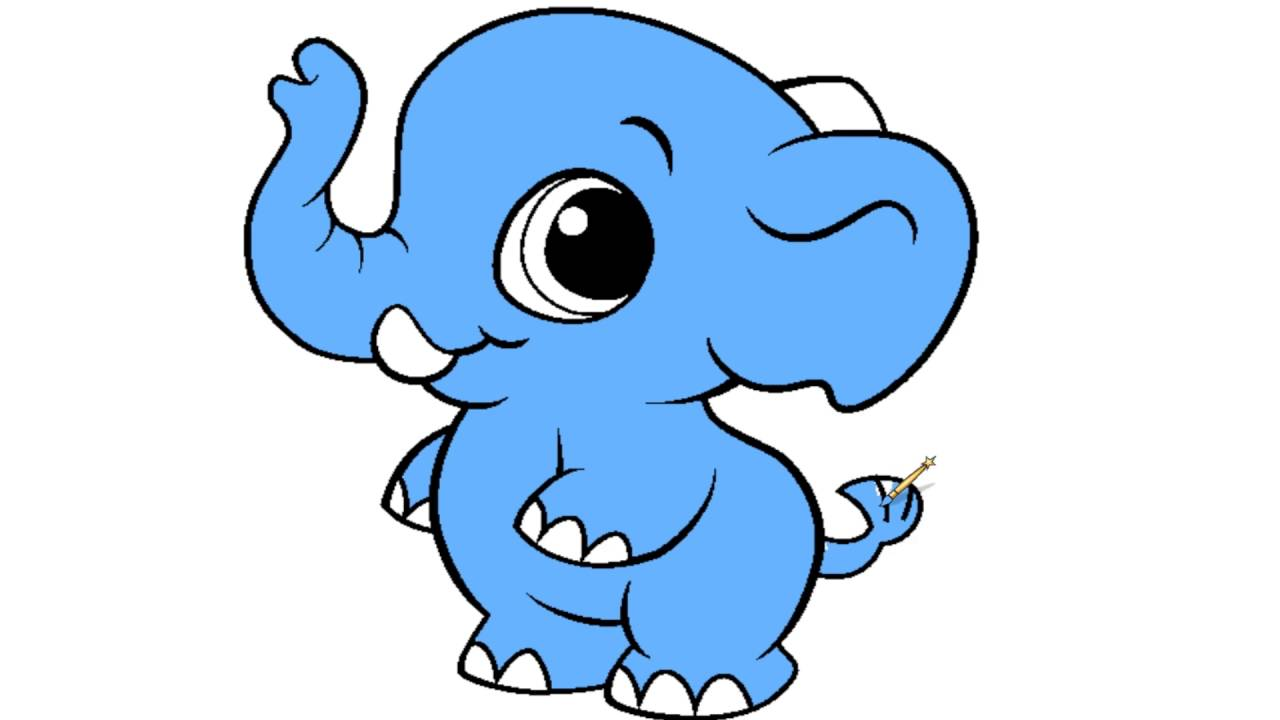 1280x720 Baby Elephant Coloring Page For Kids