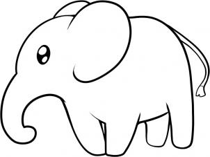 302x227 Coloring Pages Decorative Elephant Drawing Easy 5bb How To Draw
