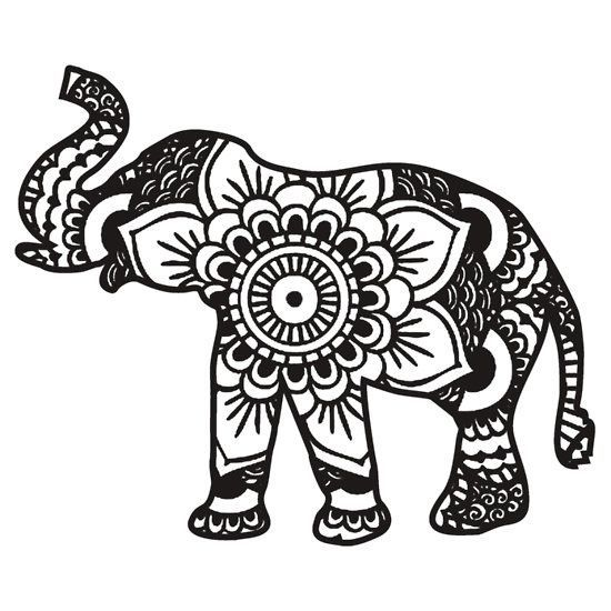 550x550 Drawn Asian Elephant Cute Tribal Elephant