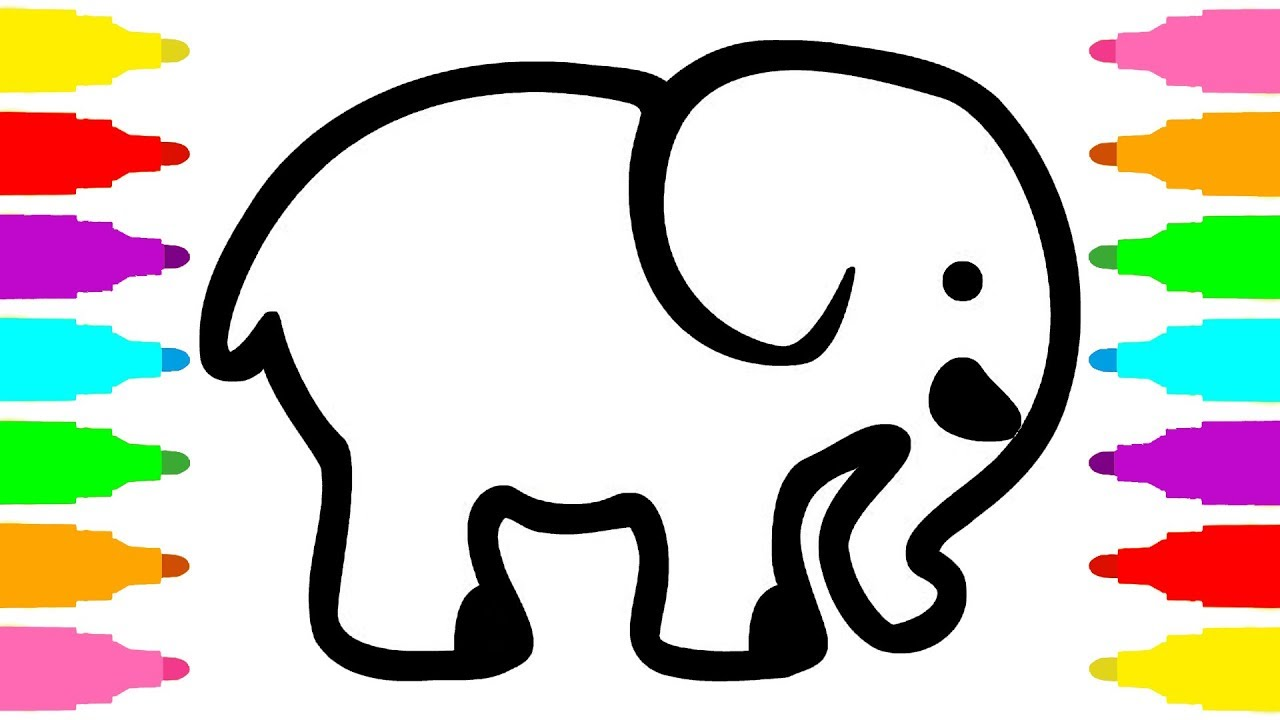 1280x720 Learn Colors With Drawing And Coloring Elephant For Kids Children