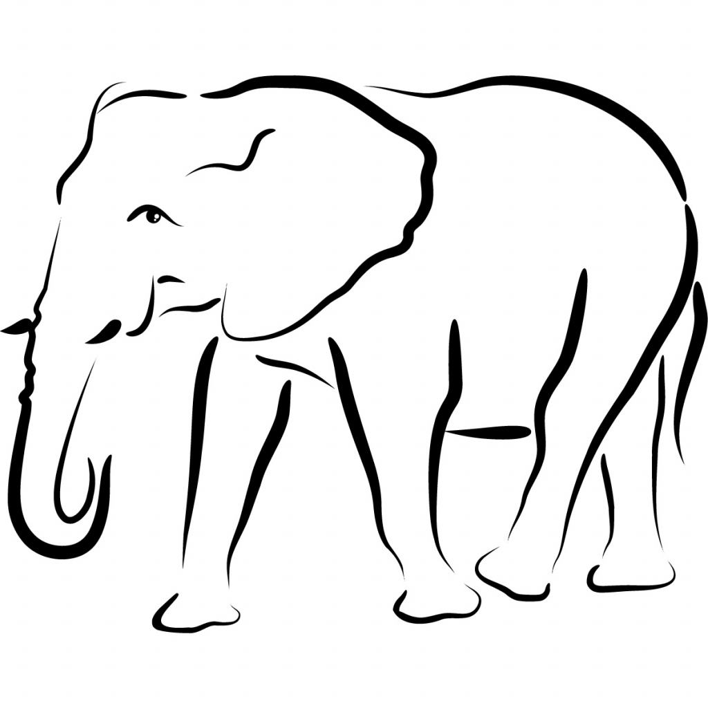 1024x1024 Simple Drawing Of Elephant Simple Elephant Outline Clipartsco