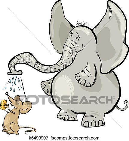 429x470 Clip Art Of Mouse And Elephant K6493907
