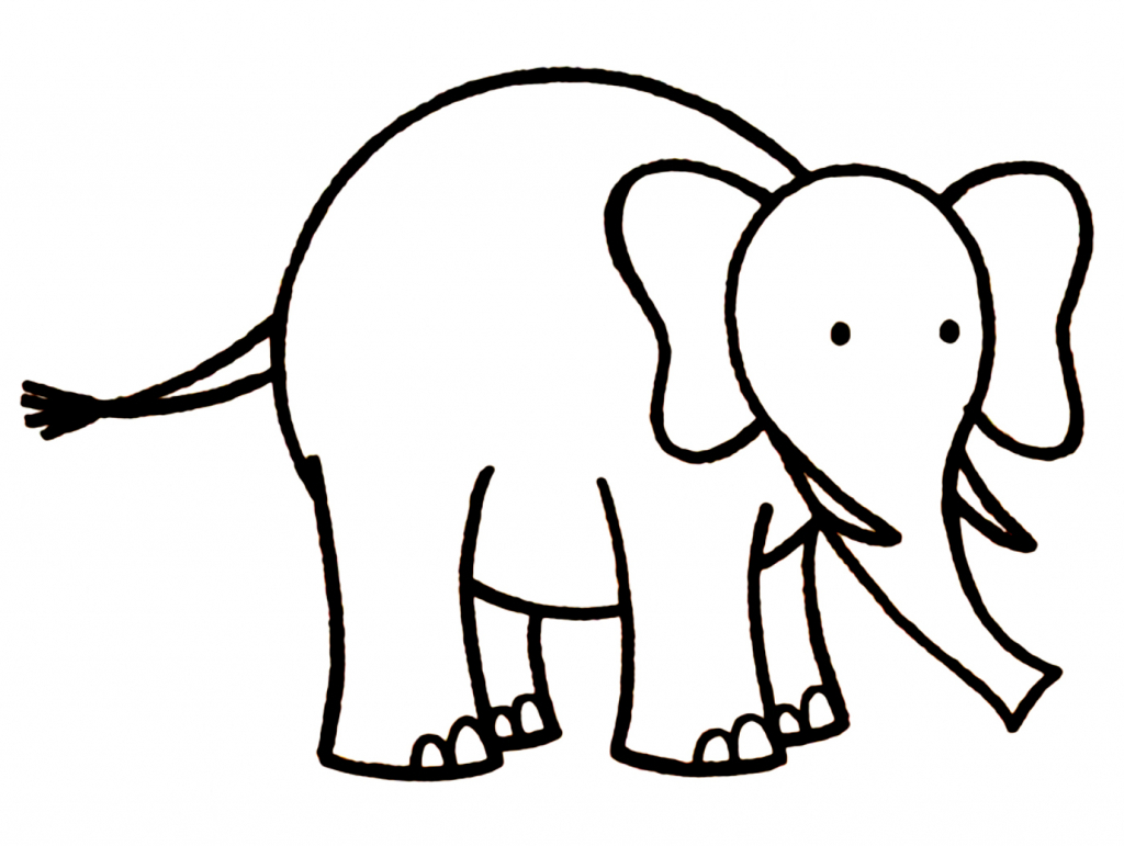 1024x771 Simple Drawing Of Elephant Elephant Drawings Images Clipartsco