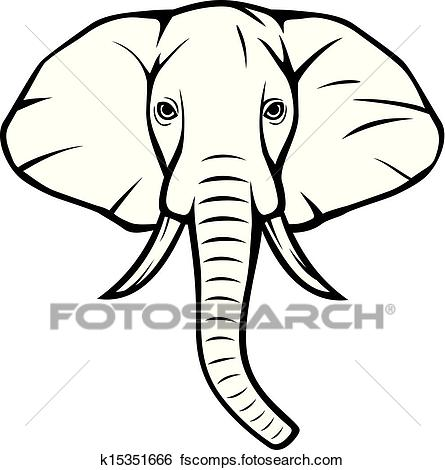 445x470 Clip Art Of Elephant Head (African Elephant) K15351666