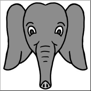 304x304 Clip Art Cartoon Animal Faces Elephant Grayscale I