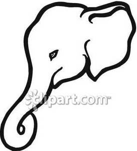 273x300 Elephant Face Clipart Black And White