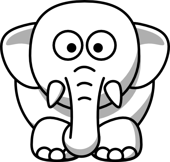 555x530 Elephant Clip Art Black And White Free Clipart