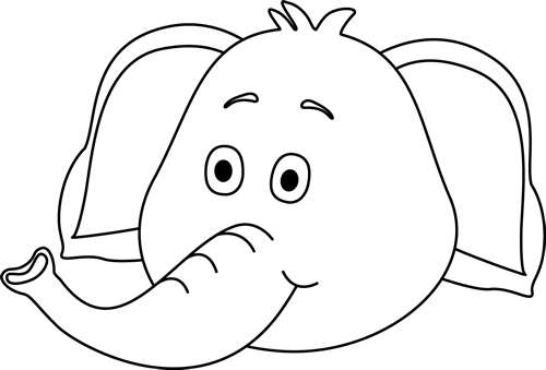 500x339 Black And White Elephant Face Clip Art