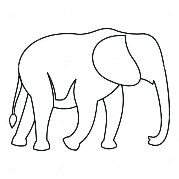 618x618 Simple Elephant Outline Group