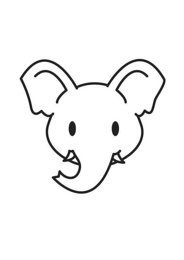620x875 Elephant Head Coloring Page Elephant Head Outline Free Download