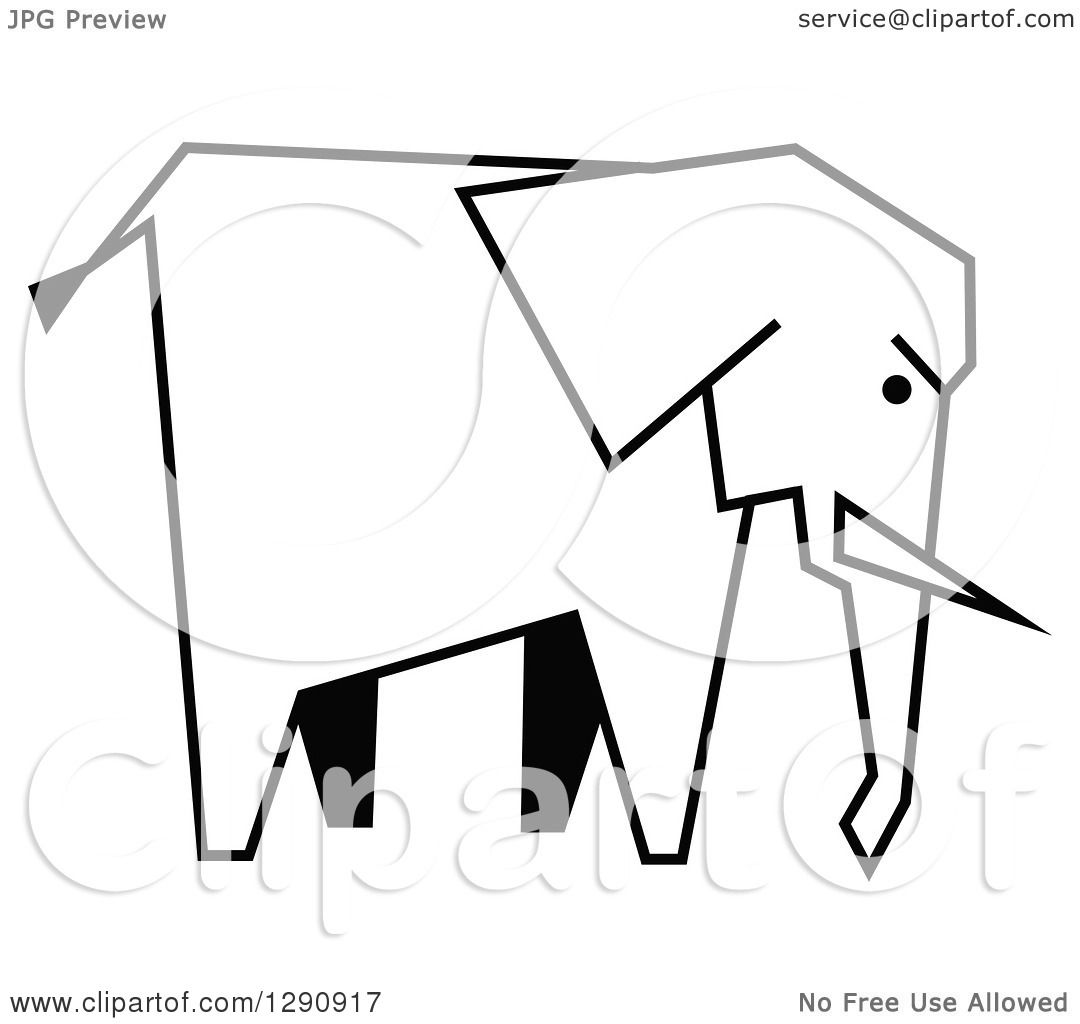1080x1024 Clipart Of A Black And White Profiled Elephant Mascot Head Logo